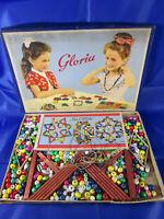 Gloria Fädelspiel DDR Glas- Perlen fädeln GDR Toy Spielzeug 50er Jahre Litho
