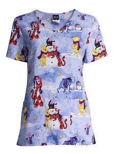 Scrubstar Winnie The Pooh Scrub Top Shirt Medium Love Snowman Tigger Piglet Z1