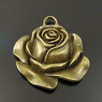 Antique Bronze Tone Alloy Rose Flower Pendant Charm 32*30*5mm 16pcs