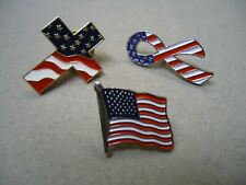 New listing 3 Red White Blue Enamel Patriotic American Flag 4th July Usa Lapel Brooch Pin