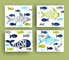 fish bathroom art prints 4 pillowfort shower curtain decor bath rules brush wash