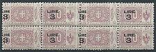 1923-25 REGNO PACCHI POSTALI 3 SU 10 QUARTINA VARIETà SOPRASTAMPA MNH ** - ED774