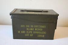 Vintage Green Ammunition Box 480 Cal .30 Cartridges 8RD Clips Bandoleers