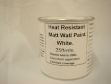 1 x 250ml Matt White Heat Resistant Wall Paint For Wood Burner Stove Alcove.
