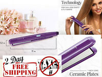 Hair Straightener Flat Iron w/ Anti-Static Technology & Digital Controls Purple