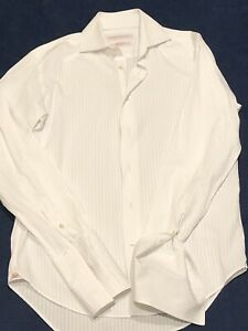 MENS SHIRT RHODES AND BECKETT SIZE 15 / 38 LIKE NEW Slim Fit White French Cuff