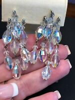 Vintage Estate 1950's Crystal Faceted Long Dangle Clip Silver Tone Earrings