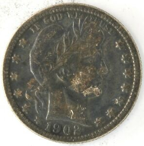 1902 O Barber Quarter Dollar US 25 Cent 90% Silver Coin New Orleans Mint