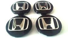 SET 4x69mm Honda Alloy BLACK Wheel Center Hub Caps ACCORD CIVIC TYPE R etc