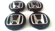 SET 4x69mm Honda Alloy BLACK Wheel Center Hub Caps ACCORD CIVIC TYPE R etc