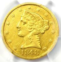 1848-C Liberty Gold Half Eagle $5 - PCGS XF Details - Rare Charlotte Gold Coin!