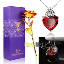 "24K Gold Rose Dipped Foil Plated +18"" 925 Red Crystal Necklace Mother's Day Gift"