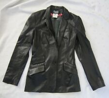 Dolce&Gabbana Women's Black Leather One Button Long Blazer Tuxedo Size 26/40 Xs