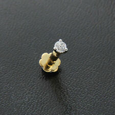 2.5mm Diamond Wedding Nose Lip Labret Screw Stud Piercing Ring Pin 14k Gold Over