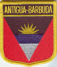 ANTIGUA BARBUDA SHIELD FLAG EMBROIDERED PATCH - IRON-ON - NEW APPROX 2.5 x 2.75""
