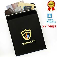 2 VitalTech FR Fireproof bags 2000°F Document safe storage Water Resistant 15x11
