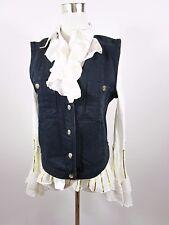 LAURA BIAGIOTTI Made in Italy Women's Vtg Navy Denim Waistcoat Gilet sz XL BC82