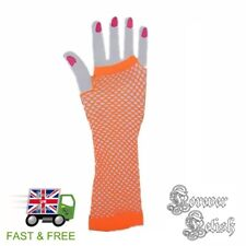 Sexy Halloween Long Neon Orange Fishnet Gloves Retro Raver Fancy Dress Costume
