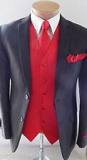 MEN'S Red XS - 6XL Dress Vest Waistcoat & Neck tie & Hankie Formal Wedding Prom