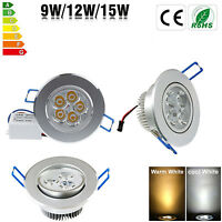 Dimmable 9W 12W 15W LED Recessed Ceiling Panel Downlight Spot Light Lamp Fixture