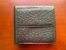 CD Case-Black Leather Ostrich-Embossed-Holds 20-Front Pocket-Raika