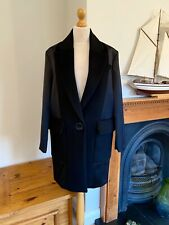 Zara Black Wool Masculine Coat With Combined Fabric XS UK8 Bnwt