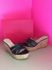 Kate Spade Talcott Black Leather Cork Heel Wedge Sandals Size 8.5M *NEW