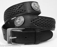 MEN'S BELTS casual dress western accessories BLACK LEATHER CONCHO BELT 46 NWOTWD
