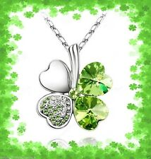 GREEN CRYSTAL SHAMROCK FOUR 4 LEAF CLOVER NECKLACE PENDANT~ST PATRICKS DAY GIFT