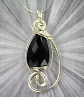 FACETED BLACK ONYX GEMSTONE PENDANT IN  STERLING SILVER WIRE WRAPPED