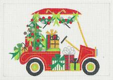 Sp.Order ~ Christmas Golf Cart & Gifts Hp Needlepoint Canvas by Raymond Crawford