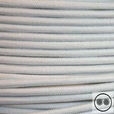 Textilkabel, Stoffkabel, Baumwolle Weis 2 adrig 2 x 0,75 mm² rund (Meterware)