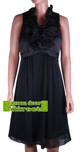 JS Boutique RRP £150 Black Satin Ruffle Front Evening Party Dress  UK 10  Eur 36