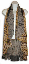 Ladies Flowing  & Gold & Brown  LEOPARD PRINT CHIFFON VEST -  One Size