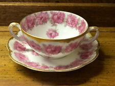 Rare Haviland Limoges Pink Drop Rose Bouillon Cream Soup Bowl & Saucer Exc. Cond
