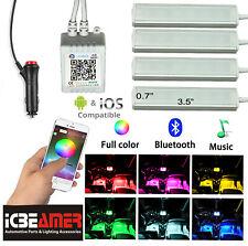4pcs Bluetooth Car Interior RGB LED Strip Atmosphere Light Phone APP Control D37