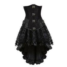 Gothic CORSET Underbust Steampunk con alta Falda Baja Acero deshuesado corsé de vestir