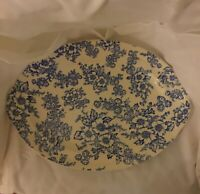"TAYLOR SMITH & TAYLOR Blue White DOGWOOD OVAL SERVING PLATTER 13"" Creamy White"