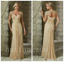 Prom Formal Mother Of Bride Dresses Ballroom Gowns Beaded Half Sleeves Lace 2017
