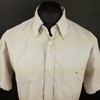 Lacoste Mens Vintage Shirt LARGE Short Sleeve Beige Regular Fit Cotton