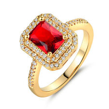 Luxury Ruby Red Topaz 18K Yellow Gold Filled Lady Women Banquet Jewelry Rings