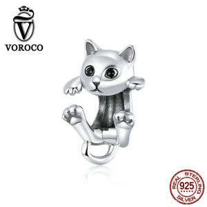 Women Real S925 Sterling Silver Charms Beads Playful kitty Fit Bracelets VOROCO