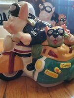 Holiday Time Pig Road Hog Cookie Jar Motorcycle w/ French Bulldog in Side Car