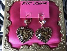 Betsey Johnson Vintage Leopard Print Lucite Heart LOVE Gold Crystal Earrings NWT