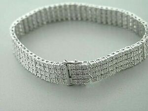 Men's Tennis Bracelet with Natural Diamonds White Gold 4 Rows 7.5 Inches