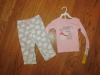 Carter's Toddler Girls 2 Piece Fleece Winter Pajama Set Size 2T Knit Top