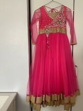 girls party dress pink indian gown anarkali eid prom size childrens 30 age 9-10