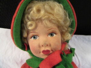 Chad Valley England Hygienic Toys Girl Doll Glass Eyes Felt w/Red Coat 13-1/2""