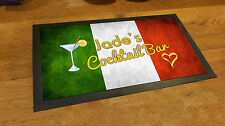 Personalised Italian Flag grunge Cocktail Label bar runner counter mat pubs