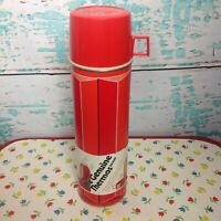 Vintage Red Genuine Thermos Brand Geometric Tall Metal Glass Insert Hot Cold 70s